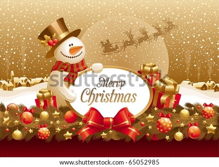Vector christmas illustration with snowman, gift & frame for text against a winter landscape - stock vector