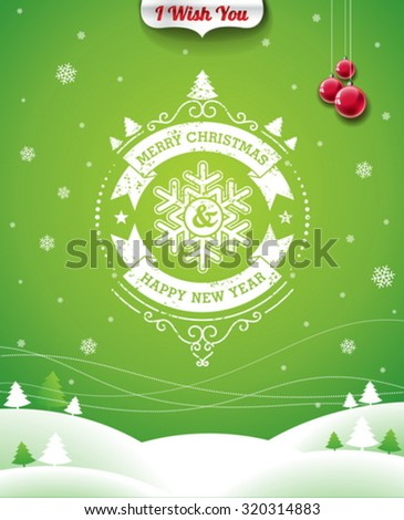 Vector Christmas illustration with typographic design and ribbon on landscape background. EPS 10 illustration. - stock vector