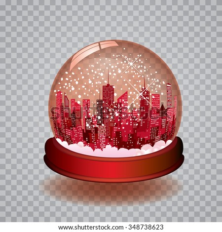vector Christmas in the city with transparent editable red snow globe - stock vector