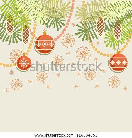 Vector christmas light background. Invitation and greeting card with stylized branches of christmas tree, cones, chaplets and christmas ball. Abstract simple winter holiday illustration with text box - stock vector