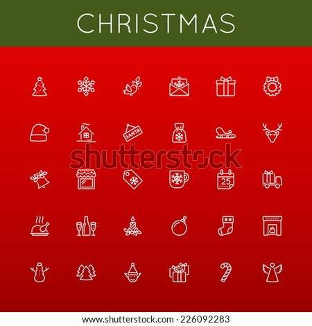 Vector Christmas Line Icons - stock vector