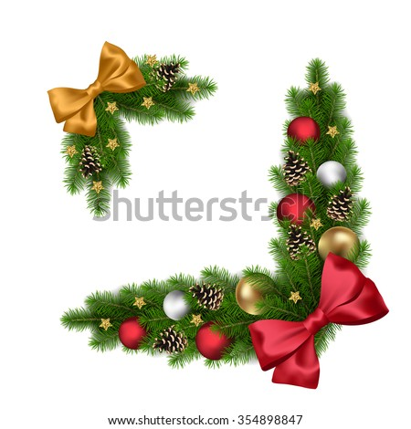 Vector Christmas or New Year decorations with fir tree and decorative elements - stock vector