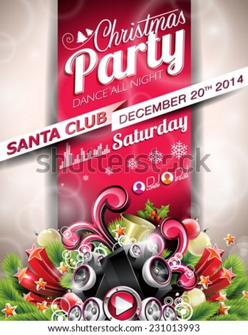 Vector Christmas Party design with holiday typographiy elements on red background. EPS 10 illustration - stock vector