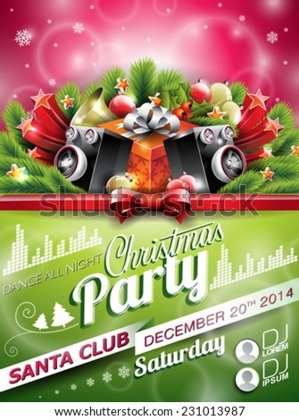 Vector Christmas Party design with holiday typographiy elements on shiny background. EPS 10 illustration - stock vector