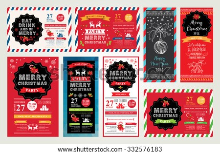 Vector christmas party invitation with toys. Holiday background and design banner. Vector template with hand-drawn xmas graphic. - stock vector