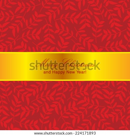 Vector Christmas postcard ornament decoration background. - stock vector