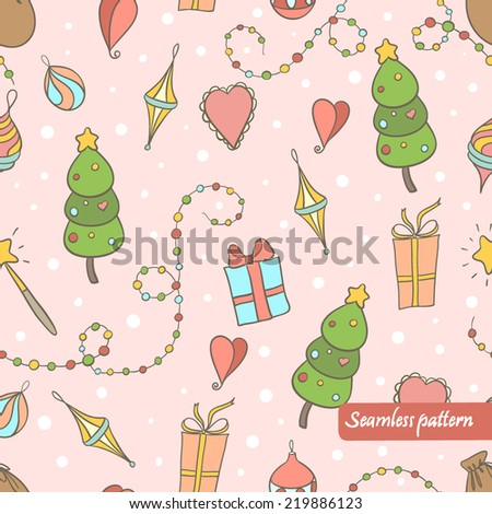 vector christmas seamless pattern. It can be used for wrapping paper, textile design, cover, wallpaper, background. - stock vector