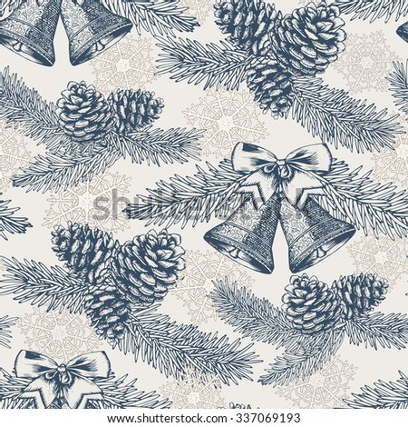 Vector Christmas seamless pattern with hand drawn fir tree, fir cones, bells. Christmas decorations in vintage style. - stock vector