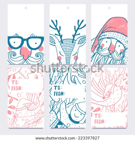 Vector Christmas set of hand drawn labels - stock vector