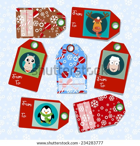 Vector Christmas tags with deer, penguin, sheep. snowballs. snow and text for your gifts - stock vector