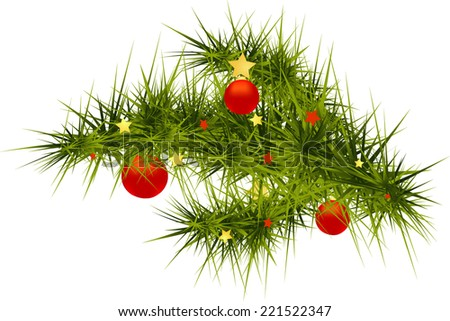 Vector Christmas tree branch decorated with red balls and stars isolated on white background - stock vector
