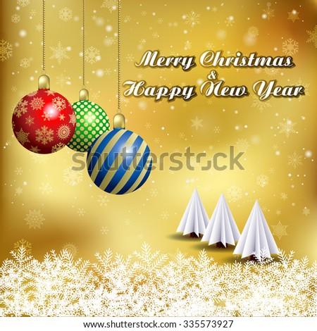 Vector Christmas tree & Christmas ball / Simple vector Christmas tree made from origami paper / Origami Christmas tree greeting card  - stock vector