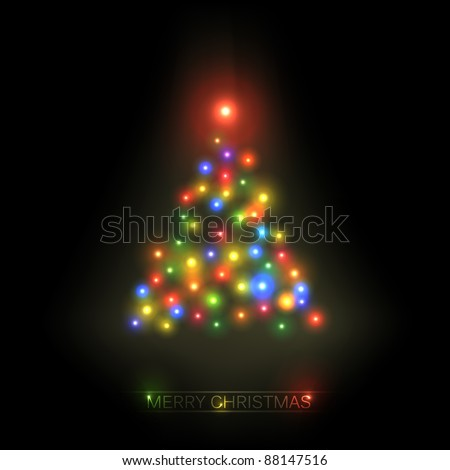 Vector christmas tree from colorful lights on a black background - stock vector
