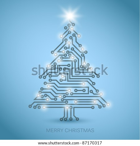 Vector christmas tree from digital electronic circuit - blue version with white lights - stock vector
