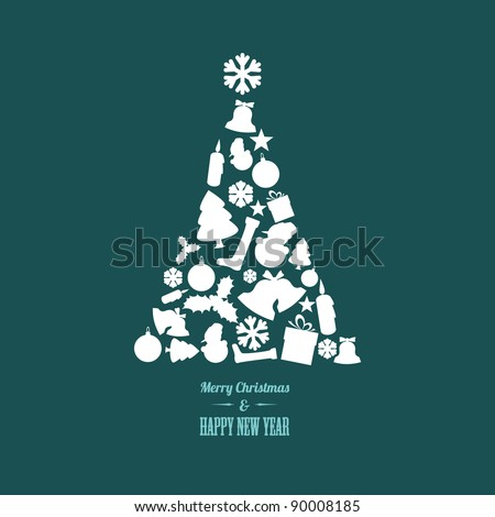 Vector christmas tree made from various shapes (white and teal version) - stock vector