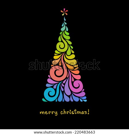 Vector Christmas tree of color swirl shapes. Original modern design element. Greeting, invitation cute card. Simple decorative illustration for print, web - stock vector