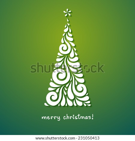 Vector Christmas tree of swirl shapes. Original modern design element. Greeting, invitation cute card. Simple decorative illustration for print, web - stock vector