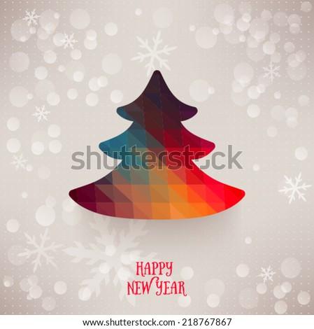 Vector christmas tree triangle lights background card design template. Vector christmas tree triangle - stock vector