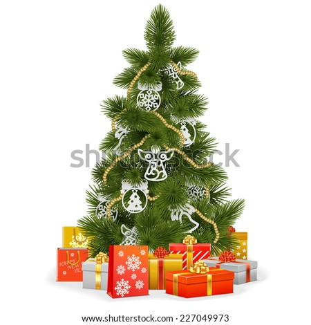 Vector Christmas Tree with Paper Decorations - stock vector