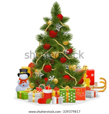 Vector Christmas Tree with Snowflakes - stock vector