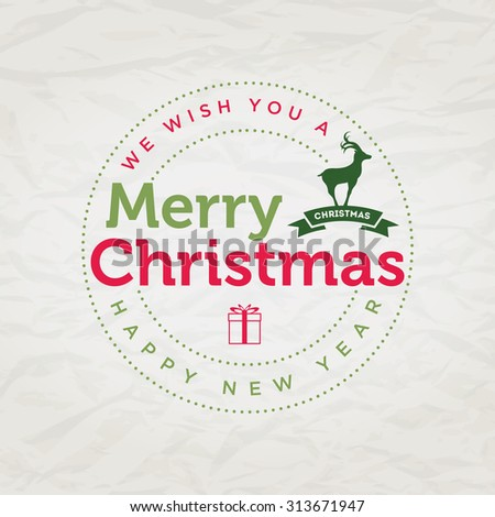Vector Christmas typographic greeting card design. - stock vector