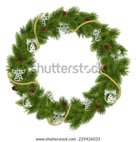Vector Christmas Wreath with Decorations - stock vector