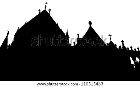 Vector church and turrets, Budapest, Hungary - stock vector