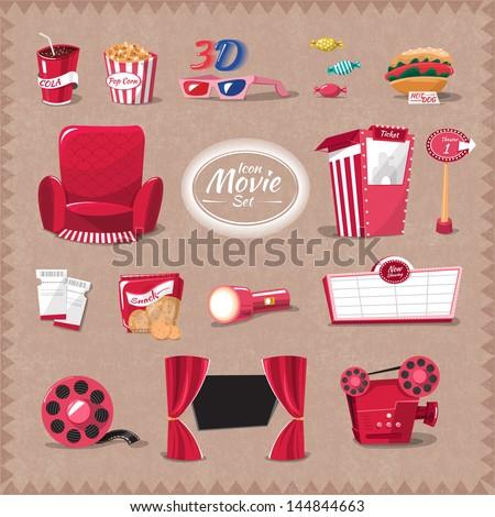 Vector cinema element style cartoon flat design - stock vector