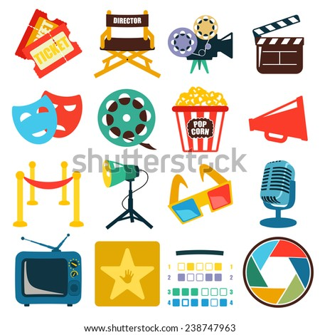 Vector cinema icon set black on white background - stock vector