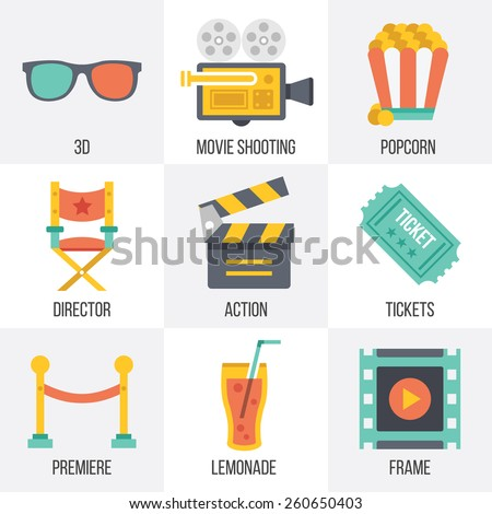 Vector cinema icons set. Flat design. Isolated on white background. Set 12.  - stock vector
