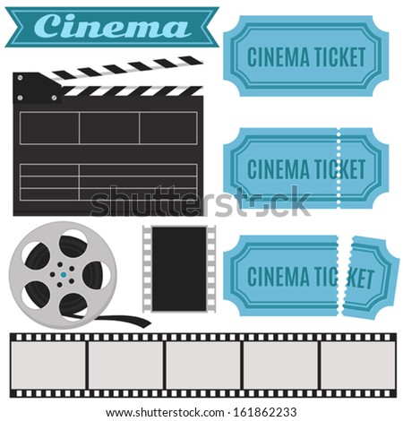 Vector cinema set in retro style with cinema ticket, clapper board, film - blue color - stock vector