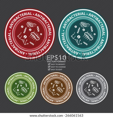 Vector : Circle Antibacterial Badge, Label, Sticker, Banner, Sign or Icon - stock vector