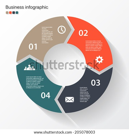 Vector circle arrows for infographic. Template for diagram, graph, presentation and chart. Business concept with four options, parts, steps or processes. Abstract background. - stock vector