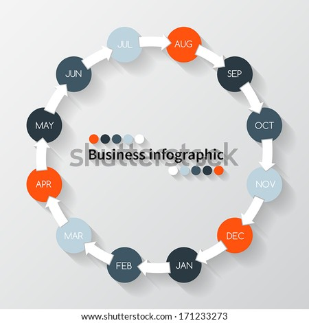 Vector circle arrows for time infographic. Template for year diagram, graph, presentation and chart. Business concept with twelve options, parts, steps or processes for each month. - stock vector