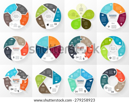Vector circle arrows infographic. Template for cycle diagram, graph, presentation and round chart. Business concept with 5 equal options, parts, steps or processes. Abstract background. - stock vector