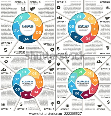 Vector circle arrows infographic. Template for diagram, graph, presentation and chart. Business concept with 5, 6, 7, 8 options, parts, steps or processes. Creative info graphic. - stock vector