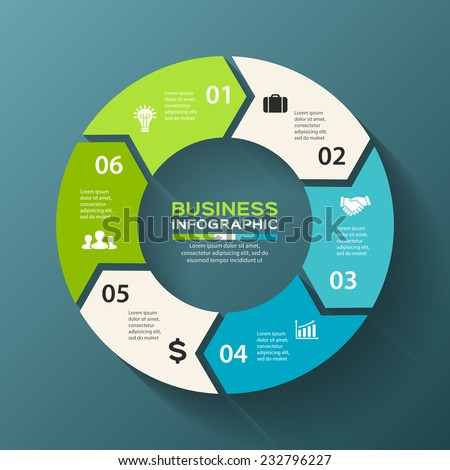 Vector circle arrows infographic. Template for diagram, graph, presentation and chart. Business concept with 6 options, parts, steps or processes. Abstract background. - stock vector