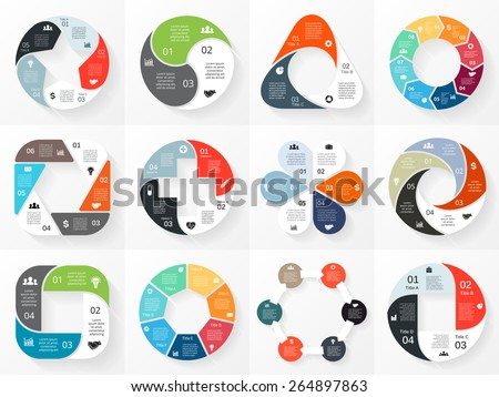 Vector circle arrows infographics set. Template for cycle diagram, graph, presentation and round chart. Business concept with 3, 4, 5, 6, 7, 8 options, parts, steps or processes. Abstract background. - stock vector
