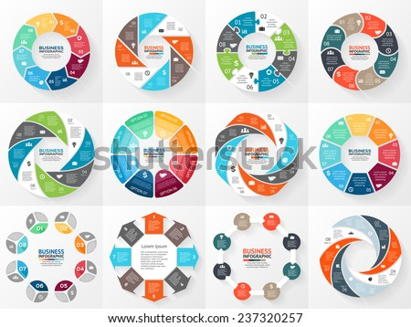 Vector circle arrows infographics set. Template for diagram, graph, presentation and chart. Business concept with 8 options, parts, steps or processes. Abstract background. - stock vector