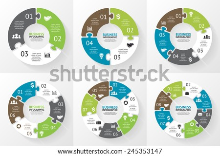 Vector circle arrows puzzle infographics set. Template for diagram, graph, presentation and chart. Business concept with 3, 4, 5, 6, 7, 8 options, parts, steps or processes. Abstract background. - stock vector
