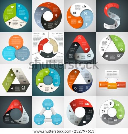 Vector circle arrows triangle infographics set. Template for diagram, graph, presentation and chart. Business concept with 3 cyclic options, parts, steps or processes. Abstract background. - stock vector