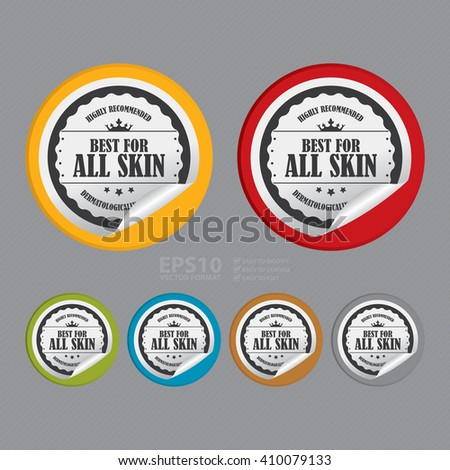 Vector : Circle Best For All Skin Highly Recommended Dermatologically Tested - Product Label, Campaign Promotion Infographics Flat Icon, Peeling Sticker, Sign - stock vector