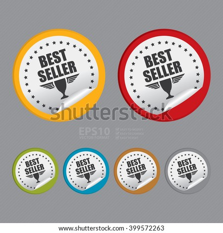 Vector : Circle Best Seller Product Label Infographics Flat Icon, Peeling Sticker, Sign - stock vector