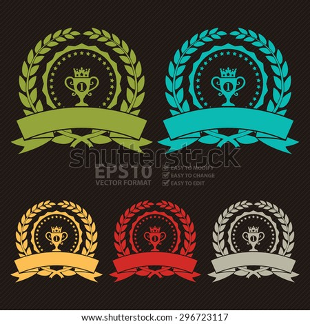Vector : Circle Blank Empty Wheat Laurel Wreath With No1 Trophy Ribbon, Label, Sticker, Banner, Sign or Icon - stock vector