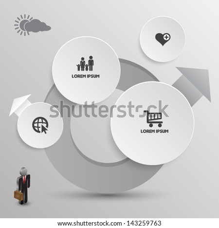 Vector circle business concepts with icons / can use for infographic/loop business report or plan / modern template / education template / business brochure / system diagram - stock vector