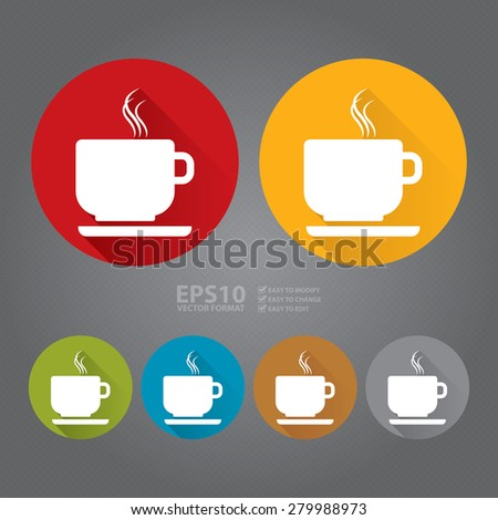 Vector : Circle Coffee Cup or Coffee Shop Long Shadow Style Icon, Label, Sticker, Sign or Banner - stock vector
