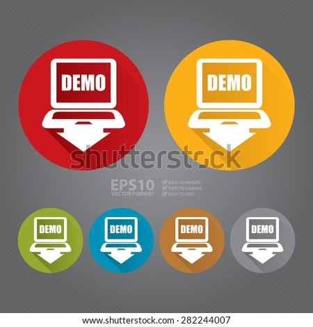 Vector : Circle Computer Laptop With Demo Text on Screen Monitor Flat Long Shadow Style Icon, Label, Sticker, Sign or Banner - stock vector