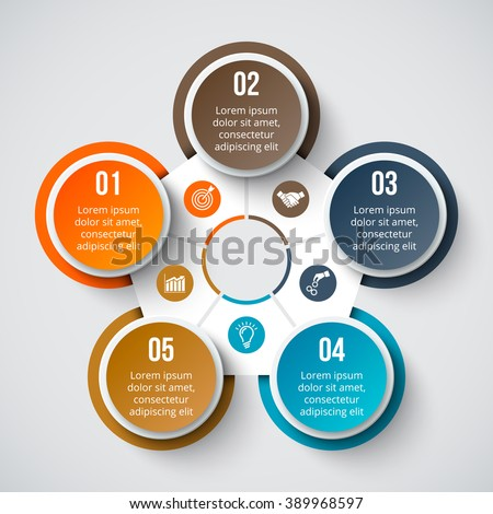 Vector circle element for infographic. Template for cycle diagram, graph, presentation and round chart. Business concept with 5 options, parts, steps or processes. Abstract background. - stock vector