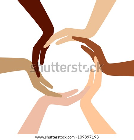 Vector - circle from different hands - stock vector