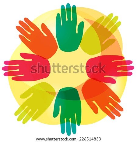 Vector circle from hands - stock vector